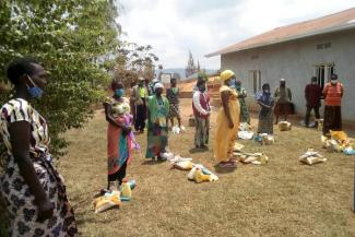 Women collecting emergency food